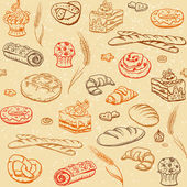 Bakery sketch seamless background — Stock Vector