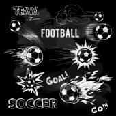 Chalk sketch of football ball and elements — 图库矢量图片