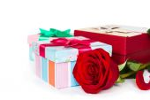 Colorful gift boxes and rose  — Foto de Stock