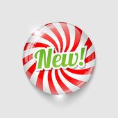 Botón brillante con espiral y texto nuevo — Vector de stock