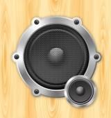 Speaker on wooden background — Stock Vector