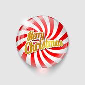 Botón brillante con espiral y texto feliz navidad — Vector de stock
