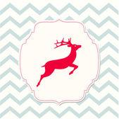 Red deer on beige background, christmas illustration — Stock Vector