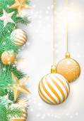 Christmas background with green branches and yellow ornaments — Stockvektor