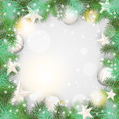 Christmas background with green branches and white ornaments — Vecteur