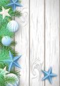 Vánoční dřevěné pozadí se zelenými větvemi a modré ornamen — Stock vektor