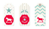 Three christmas  tags in shabby chic style — Stock Vector