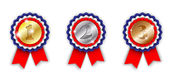 Award ribbons, 1st, 2nd and 3rd place — Stock Vector
