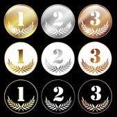 Medals with numbers 1, 2 and 3 — Stock Vector