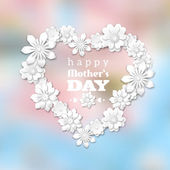 Mother's Day theme with heart and white flowers — Stock Vector