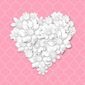 Heart shape composed from white flowers — 图库矢量图片