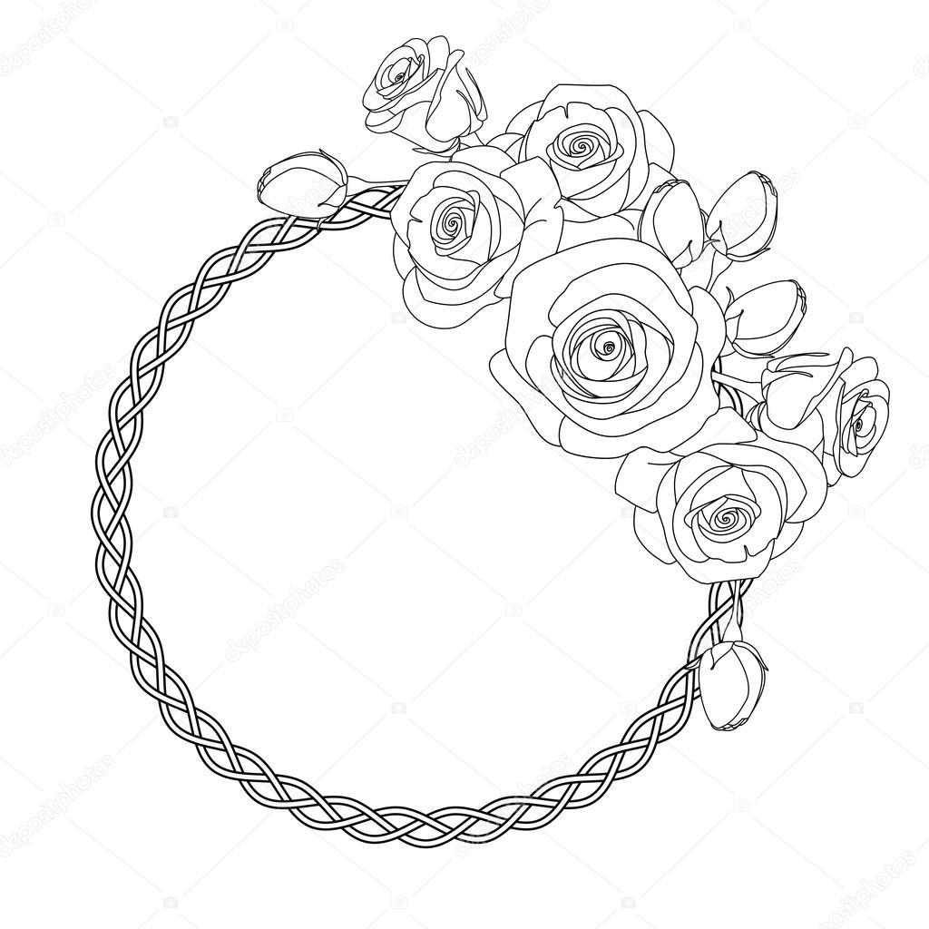 L 39 ornement avec motif celtique et roses coloriage anti for Colorare le rose
