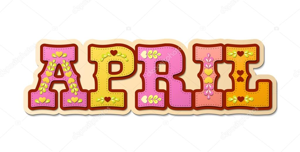 April Calendar Clip Art : April illustrated name of calendar month illustration