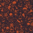 Seamless Pattern With Halloween Pumpkins And Monsters — Stock Vector #52903801