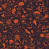 Seamless Pattern With Halloween Pumpkins And Monsters — Stockvektor