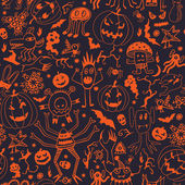 Seamless Pattern With Halloween Pumpkins And Monsters — Vettoriale Stock