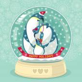 Snowing Globe With Penguin Family Inside — Stock Vector
