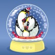 Snowing Globe With Family Of Three Penguins Inside — Stock Vector #59357235