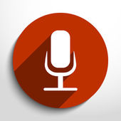 Vector microphone web flat icon. — Stock Vector