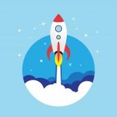 Vector flat rocket web icon. — Vetor de Stock