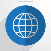 Vector globe web flat icon — Stock Vector