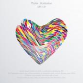 Vector mosaic hearts flat background. — Vector de stock