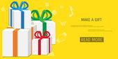 Vector online shopping gifts concept — Stock Vector