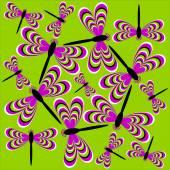 Dance of dragonflies (optical illusion of movement) — Vector de stock