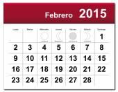 Spanish version of February 2015 calendar — Stock Vector