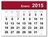 Spanish version of January 2015 calendar — Stock Vector