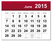 June 2015 calendar — Stock Vector
