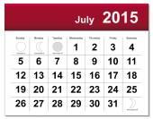 July 2015 calendar — Stock Vector