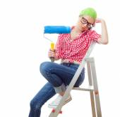 House painter woman — Stock Photo