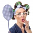Housewife with fly swatter — Stock Photo #71032083