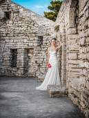 Beautiful bride standing or posing — Stok fotoğraf