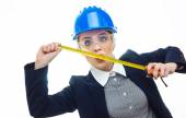 Engineer woman over white background — Stock Photo