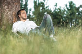 Man in nature — Stock Photo