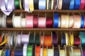 Selection Of Colourful Ribbons On Haberdashery Stall — Stock Photo