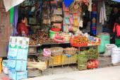 Nepalese people selling dried food in Kathmandu, Nepal — Stock Photo