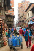 Busy shopping street named Ason Tole in Kathmandu — Stock Photo