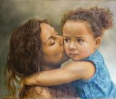 Painting of a young woman kissing a girl — Stock Photo