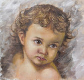 Oil painting of a child — Stock Photo