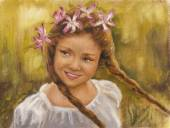 Oil on canvas of a happy little girl — Stock Photo