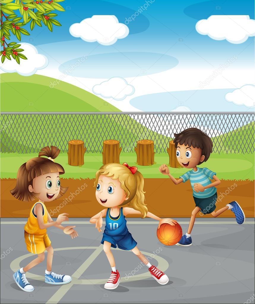 ni u00f1os jugando baloncesto en la corte vector de stock clip art children playing sports clipart children playing sign
