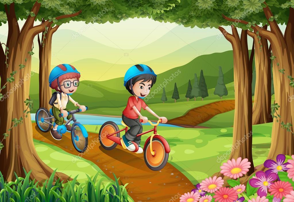 Niña Montando Su Bicicleta En Un Parque: Dos Niños Montando Bicicleta En El Parque