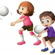 Kids playing volleyball — Stock Vector #51971751
