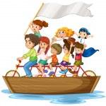 Children on boat — Stock Vector #51971987