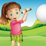 Girl playing golf — Stock Vector #51972957