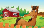Horse and farm — Stock Vector