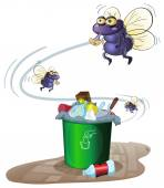 Garbage and flies — Stock Vector